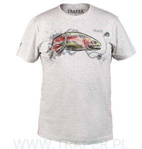 T-SHIRT RAINBOW TROUT LIGHT GREY TRAPER