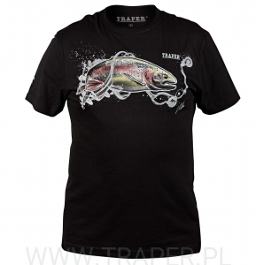 T-SHIRT RAINBOW TROUT BLACK TRAPER